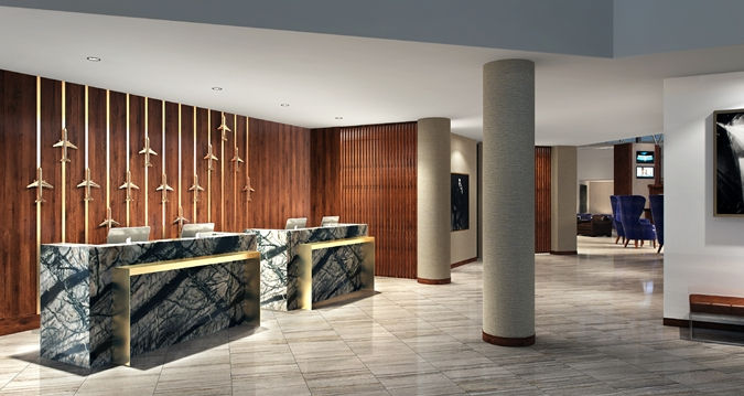 Newly renovated airport hotel in Nashville - photo of lobby area