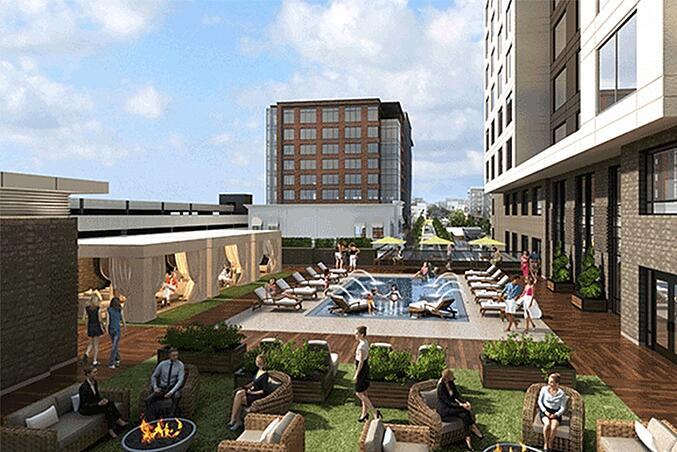 Rendering of the rooftop pool at The Hotel at Avalon